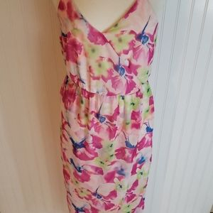 Nordstrom lush size L pink floral high low dress